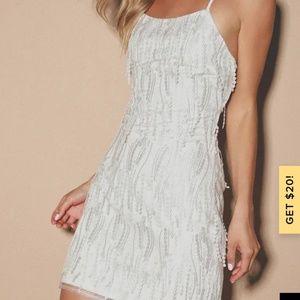 Lulu's Making Magic White Fringe Lace-Up Mini Dres